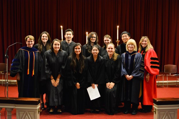 The Primannum Advisors, Executive Board Members, and Guest Speaker, Dr. Burton, pose for a photo at the Fall 2015 Induction Ceremony.